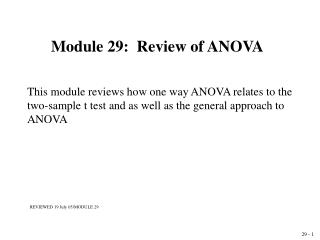 Module 29:  Review of ANOVA