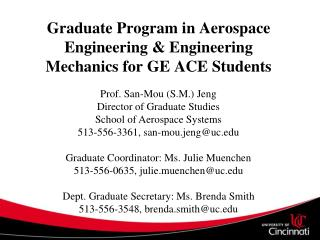 Graduate Program in Aerospace Engineering & Engineering Mechanics for GE ACE Students