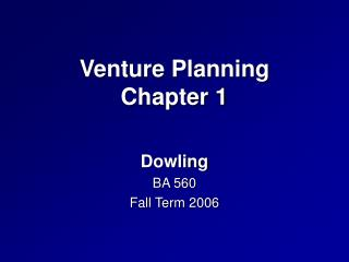 Venture Planning Chapter 1
