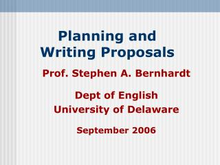 Planning and  Writing Proposals