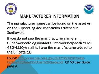Manufacturer Information