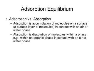 Adsorption Equilibrium