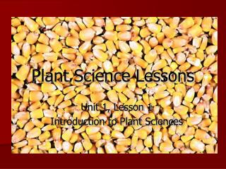 Plant Science Lessons