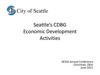 Seattle's CDBG  Economic Development Activities