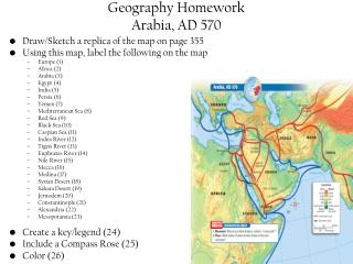 Geography Homework Arabia, AD 570