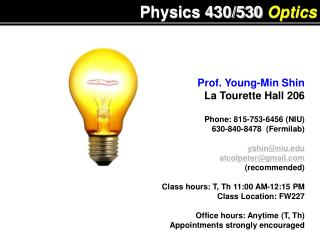 Physics 430/530  Optics
