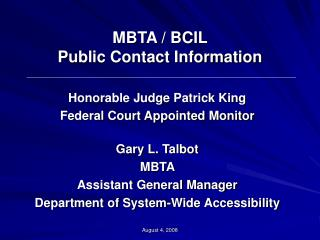 MBTA / BCIL  Public Contact Information