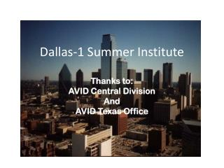 Dallas-1 Summer Institute
