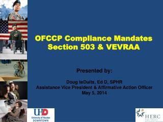OFCCP Compliance Mandates  Section 503 & VEVRAA