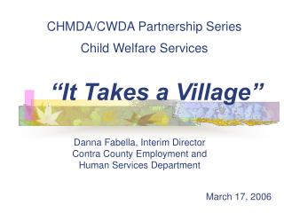 CHMDA/CWDA Partnership Series Child Welfare Services