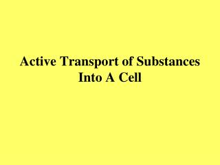 Active Transport of Substances Into A Cell