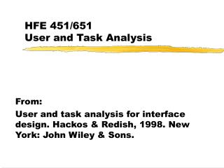 HFE 451/651 User and Task Analysis