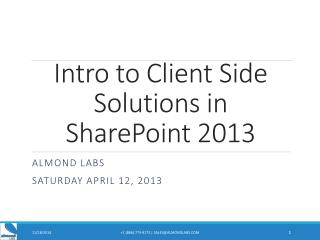 Intro to Client Side Solutions in SharePoint 2013