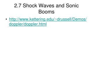 2.7 Shock Waves and Sonic Booms