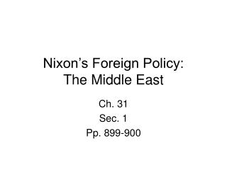 Nixon's Foreign Policy: The Middle East