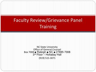 Faculty Review/Grievance Panel Training