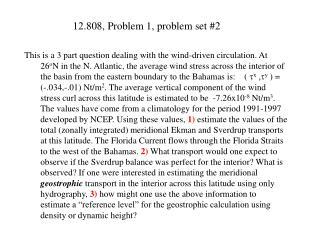 12.808, Problem 1, problem set #2