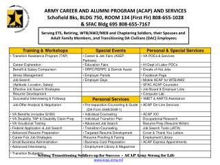 Serving ETS, Retiring, WTB/AW2/MEB and Chaptering Soldiers, their Spouses and