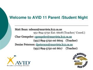 Welcome to AVID 11 Parent /Student Night