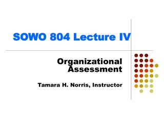 SOWO 804 Lecture IV