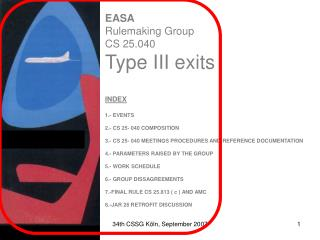 EASA Rulemaking Group CS  25.040    Type III Exits
