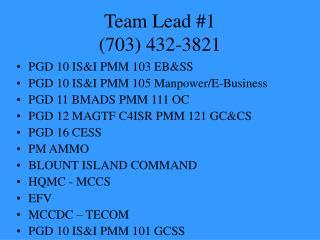 Team Lead #1 (703) 432-3821