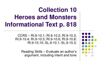 Collection 10 Heroes and Monsters Informational Text p. 818