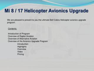 Mi 8 / 17 Helicopter Avionics Upgrade