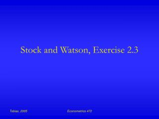 Stock and Watson, Exercise 2.3
