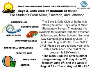 Boys & Girls Club of Burbank at Miller For Students From Miller, Emerson, and Jefferson