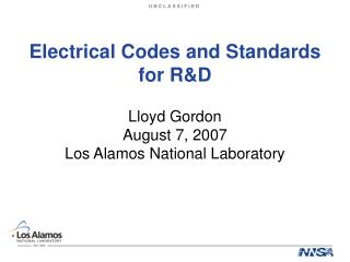 Electrical Codes and Standards for R&D