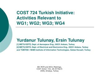 COST 724 Turkish Initiative: Activities Relevant to  WG1; WG2; WG3; WG4