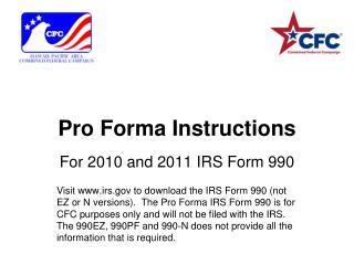 Pro Forma Instructions