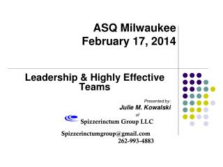 ASQ Milwaukee February 17, 2014