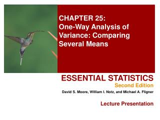 CHAPTER 25: One-Way Analysis of Variance: Comparing Several Means