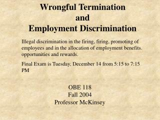 Wrongful Termination and Employment Discrimination