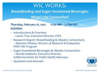 WIC WORKS:  Breastfeeding and Sugar-Sweetened Beverages:  What's the Connection?