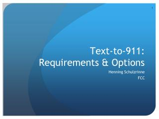 Text-to-911: Requirements & Options