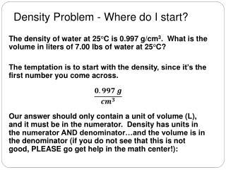 Density Problem - Where do I start?