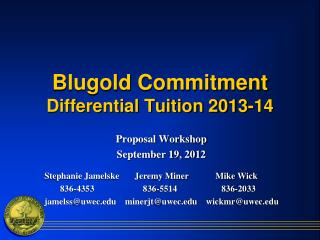 Blugold  Commitment Differential Tuition  2013-14