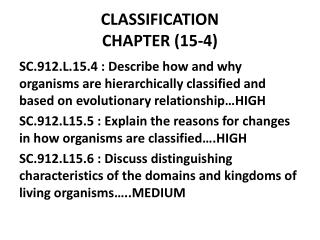 CLASSIFICATION CHAPTER (15-4)