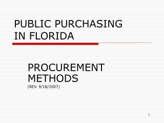 PUBLIC PURCHASING IN FLORIDA
