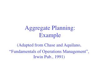 Aggregate Planning: Example