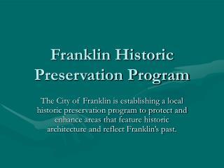 Franklin Historic Preservation Program