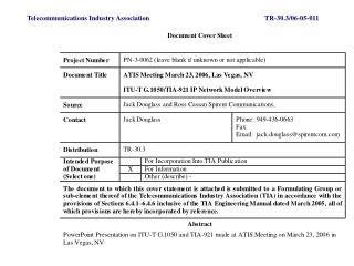 Telecommunications Industry AssociationTR-30.3/06-05-011