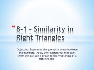 8-1 – Similarity in Right Triangles