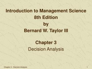 Chapter 3 Decision Analysis