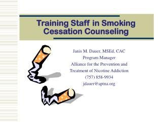 Training Staff in Smoking Cessation Counseling