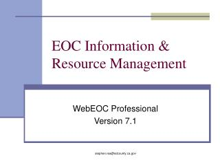 EOC Information & Resource Management