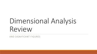 Dimensional Analysis Review